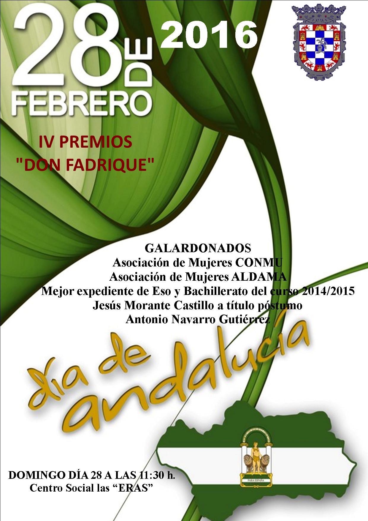 """IV Premios """"Don Fadrique"""" para el Día de Andalucía."""